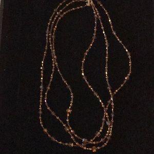 Vintage 3 Strand Bronze Bead Necklace
